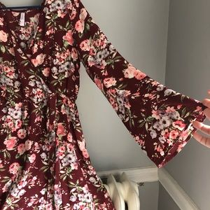 Floral Maroon Plus Dress